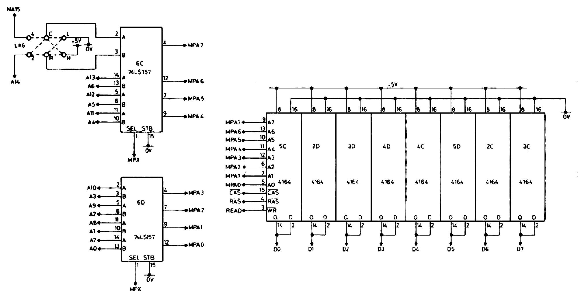 memotech mtx   dram selection / decoding, wiring diagram
